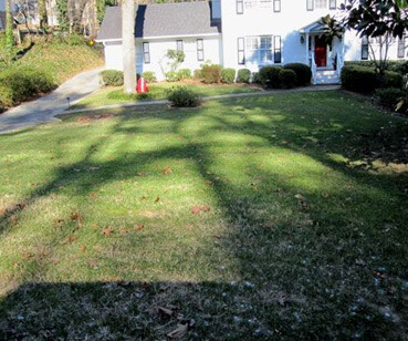 Before and after our Atlanta lawn maintenance services.